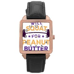Will Squat For Peanut Butter Rose Gold Leather Watch  by Onesevenart