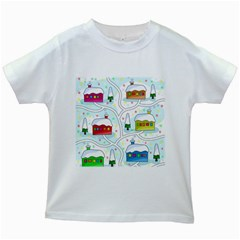 Winter Magical Landscape Kids White T Shirts by Valentinaart