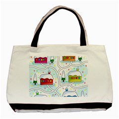 Winter Magical Landscape Basic Tote Bag (two Sides) by Valentinaart