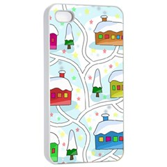 Winter Magical Landscape Apple Iphone 4/4s Seamless Case (white) by Valentinaart