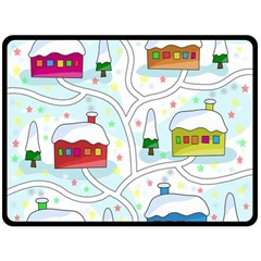 Winter Magical Landscape Double Sided Fleece Blanket (large)  by Valentinaart