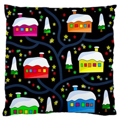 Winter Magical Night Large Flano Cushion Case (two Sides) by Valentinaart