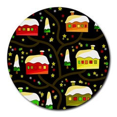 Winter  Night  Round Mousepads by Valentinaart