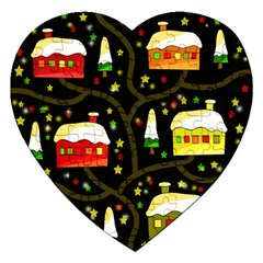 Winter  night  Jigsaw Puzzle (Heart) by Valentinaart