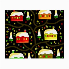 Winter  Night  Small Glasses Cloth by Valentinaart