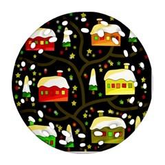 Winter  Night  Round Filigree Ornament (2side) by Valentinaart