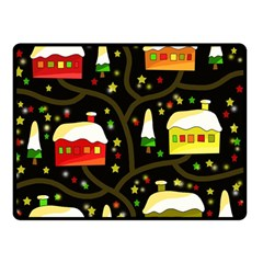 Winter  Night  Double Sided Fleece Blanket (small)  by Valentinaart