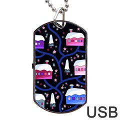 Magical Xmas Night Dog Tag Usb Flash (two Sides)  by Valentinaart