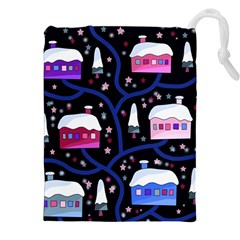 Magical Xmas Night Drawstring Pouches (xxl) by Valentinaart