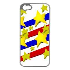 Flag Ransparent Cartoon American Apple Iphone 5 Case (silver) by Onesevenart
