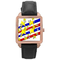 Flag Ransparent Cartoon American Rose Gold Leather Watch  by Onesevenart