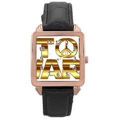 Stop Wars Rose Gold Leather Watch  by Onesevenart
