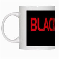 Black Red Splitting Typography White Mugs by Onesevenart