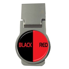 Black Red Splitting Typography Money Clips (round)  by Onesevenart