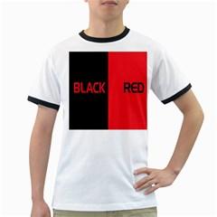 Black Red Splitting Typography Ringer T-Shirts by Onesevenart