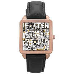 Foster The People Creative Typography Rose Gold Leather Watch  by Onesevenart