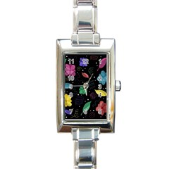 Colorful Floral Design Rectangle Italian Charm Watch by Valentinaart