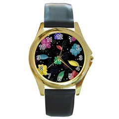 Colorful Floral Design Round Gold Metal Watch by Valentinaart