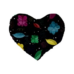 Colorful Floral Design Standard 16  Premium Flano Heart Shape Cushions by Valentinaart