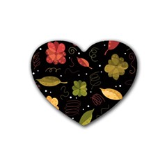Autumn Flowers  Heart Coaster (4 Pack)  by Valentinaart