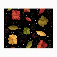 Autumn Flowers  Small Glasses Cloth (2 Side) by Valentinaart
