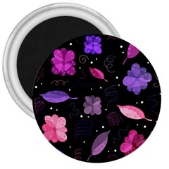 Purple And Pink Flowers  3  Magnets by Valentinaart