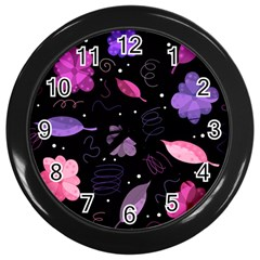 Purple And Pink Flowers  Wall Clocks (black) by Valentinaart