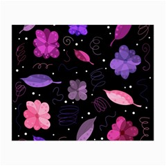Purple And Pink Flowers  Small Glasses Cloth (2 Side) by Valentinaart
