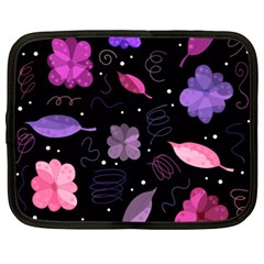 Purple And Pink Flowers  Netbook Case (xxl)  by Valentinaart