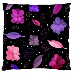 Purple And Pink Flowers  Large Cushion Case (two Sides) by Valentinaart