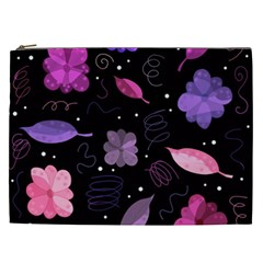 Purple And Pink Flowers  Cosmetic Bag (xxl)  by Valentinaart