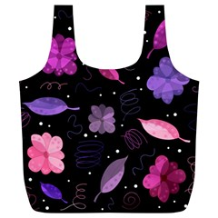 Purple And Pink Flowers  Full Print Recycle Bags (l)  by Valentinaart