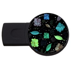 Blue And Green Flowers  Usb Flash Drive Round (2 Gb)  by Valentinaart