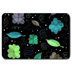 Blue And Green Flowers  Large Doormat  by Valentinaart