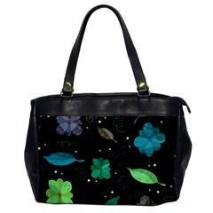 Blue And Green Flowers  Office Handbags by Valentinaart