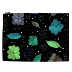Blue And Green Flowers  Cosmetic Bag (xxl)  by Valentinaart