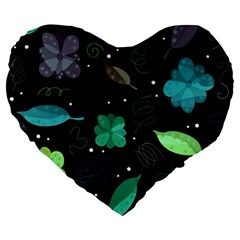 Blue And Green Flowers  Large 19  Premium Heart Shape Cushions by Valentinaart
