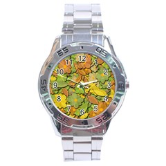 Autumn Flowers Stainless Steel Analogue Watch by Valentinaart