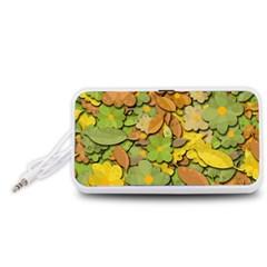 Autumn Flowers Portable Speaker (white)  by Valentinaart