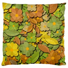 Autumn Flowers Large Cushion Case (two Sides) by Valentinaart