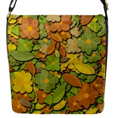 Autumn Flowers Flap Messenger Bag (s) by Valentinaart