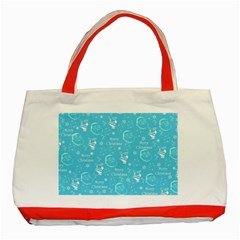 Santa Christmas Collage Blue Background Classic Tote Bag (Red) by Onesevenart