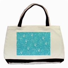 Santa Christmas Collage Blue Background Basic Tote Bag (two Sides) by Onesevenart