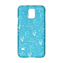 Santa Christmas Collage Blue Background Samsung Galaxy S5 Hardshell Case  by Onesevenart