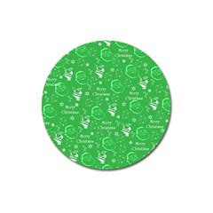Santa Christmas Collage Green Background Magnet 3  (round) by Onesevenart