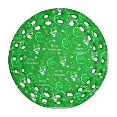 Santa Christmas Collage Green Background Round Filigree Ornament (2side) by Onesevenart