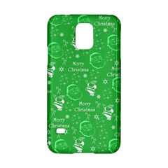 Santa Christmas Collage Green Background Samsung Galaxy S5 Hardshell Case  by Onesevenart