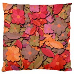 Beautiful Floral Design Large Cushion Case (one Side) by Valentinaart