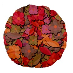 Beautiful Floral Design Large 18  Premium Round Cushions by Valentinaart