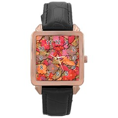 Beautiful Floral Design Rose Gold Leather Watch  by Valentinaart